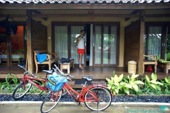 Our bikes parked at Villa Karang