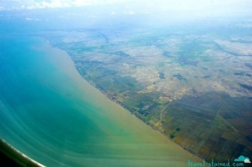 Beautiful Indonesian coastline from the plane