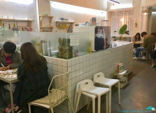 peach gray cafe interior