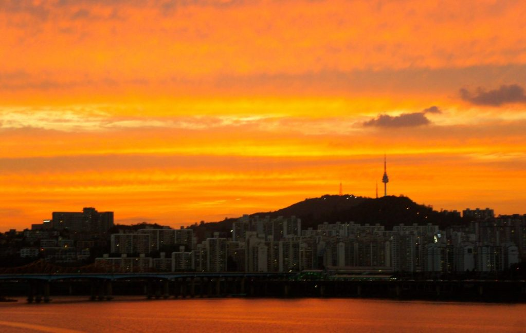 sunset over namsan in seoul korea