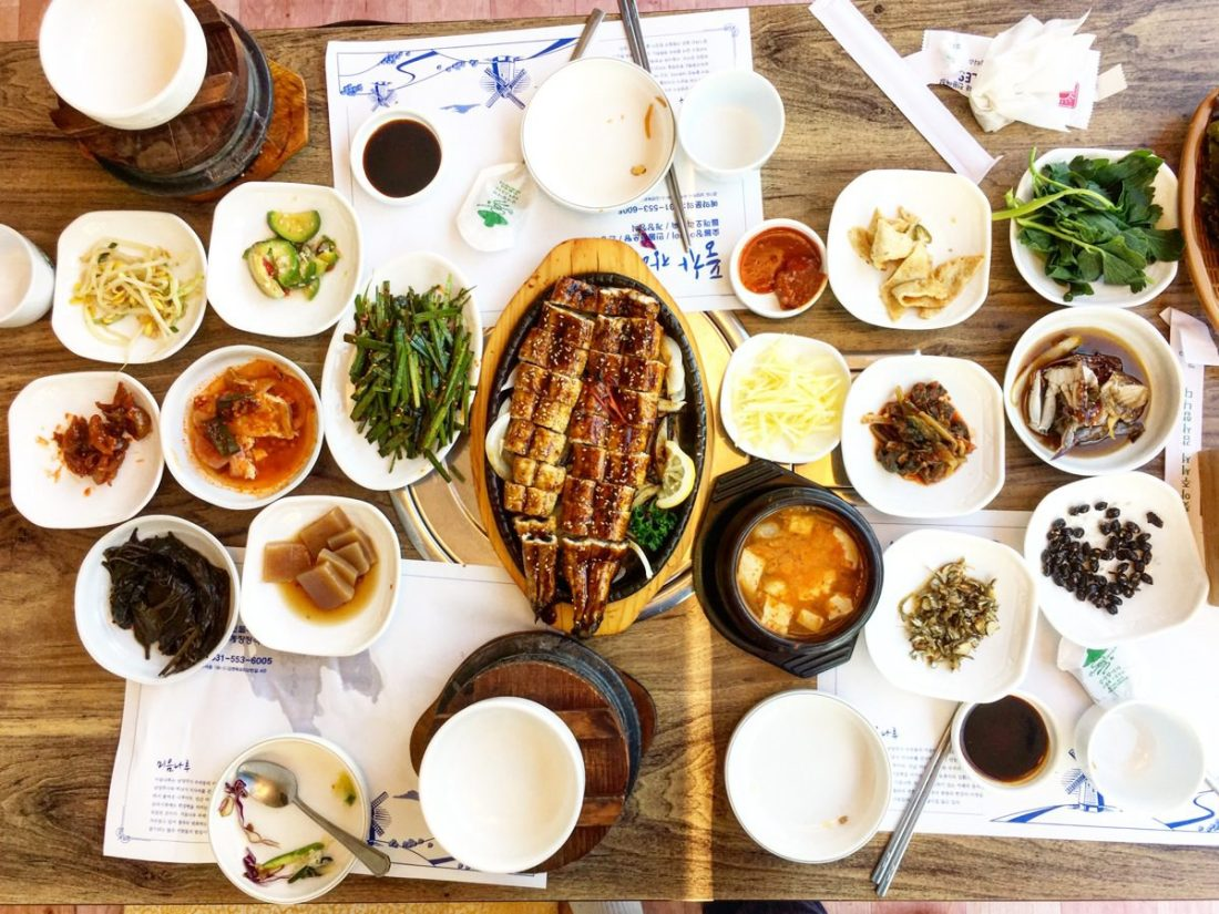 grilled eel and side dishes in korea