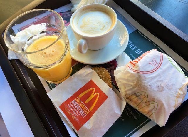 Breakfast at McD's in Rome