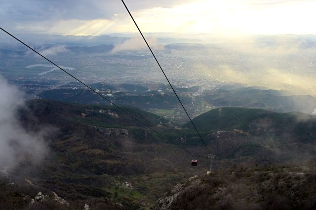 things to do in tirana, view of mount dajti and the dajti ekspres from above