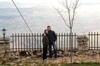a couple standing on Mount Dajti in Tirana