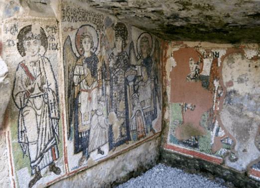 medieval mosaic in durres amphitheatre