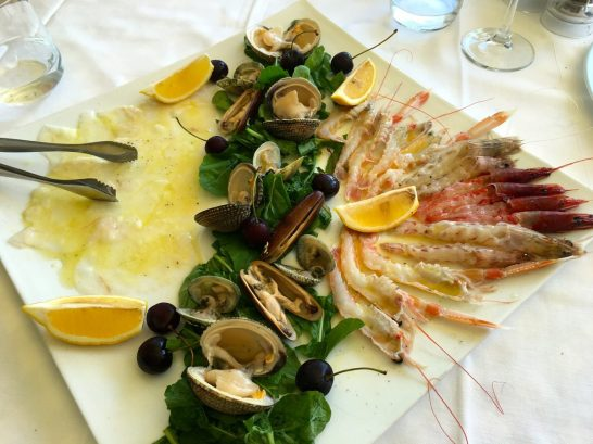a plate of raw seafood at Bar Monun in durres, Albania