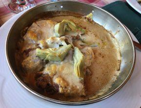 veal chops with artichokes at Tirana restaurant Taiwan