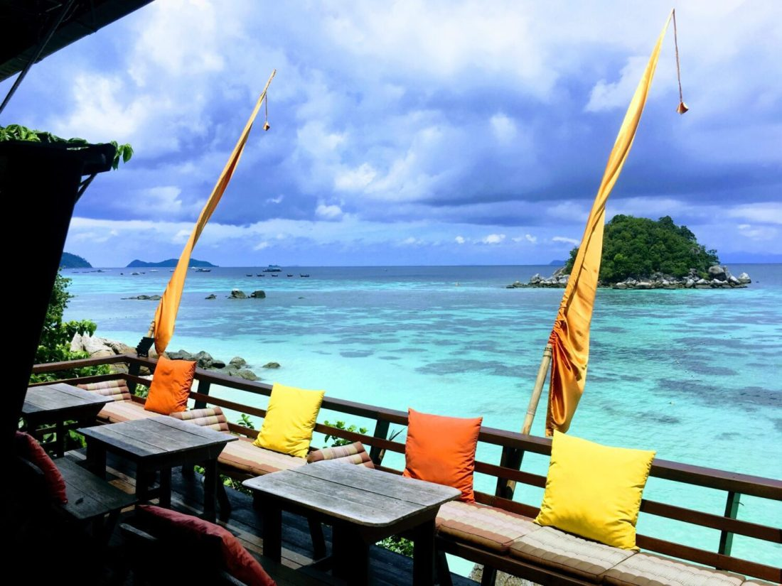 view of koh lipe sunrise beach from serendipity restaurant
