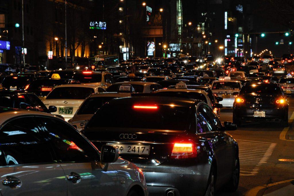 seoul traffic at night