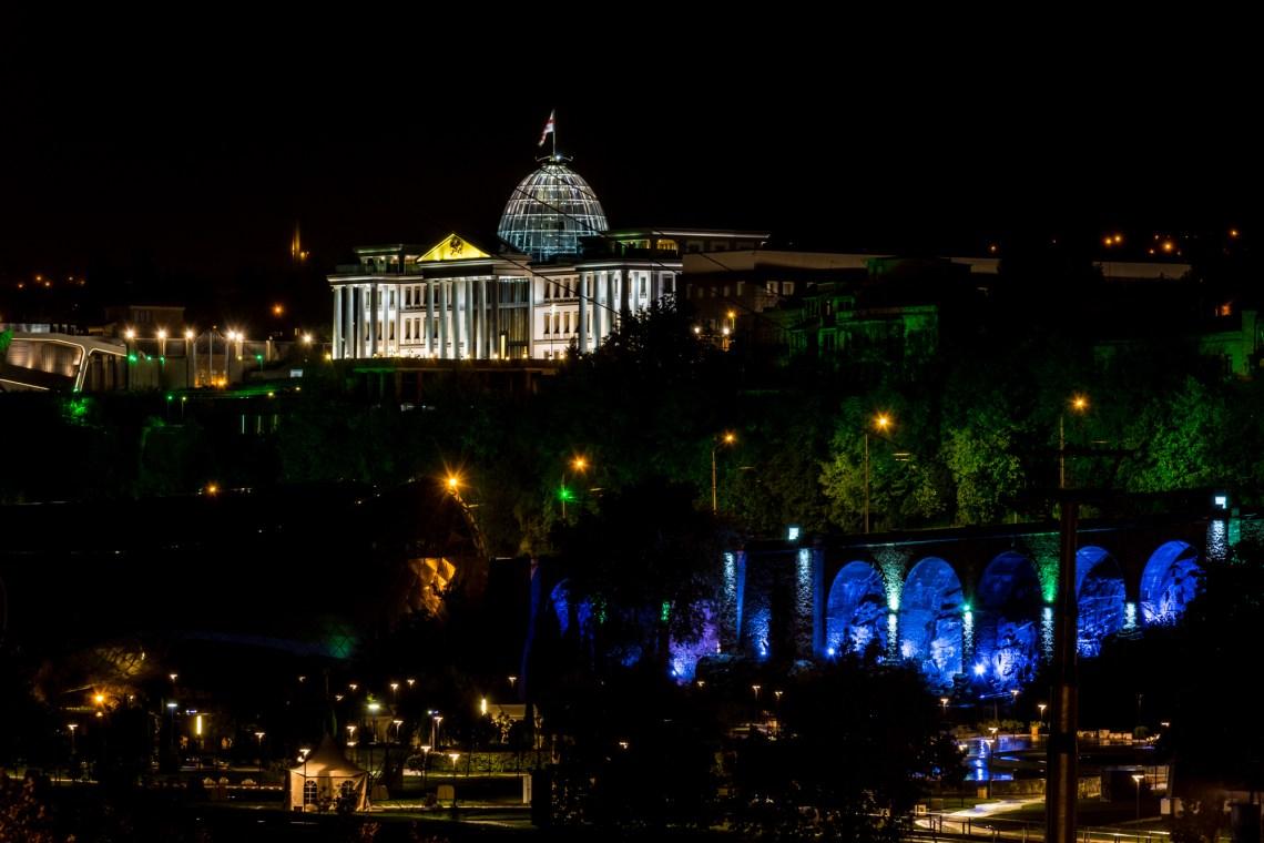 Президентский дворец (Авлабарская Резиденция) ночью. Ночной Тбилиси