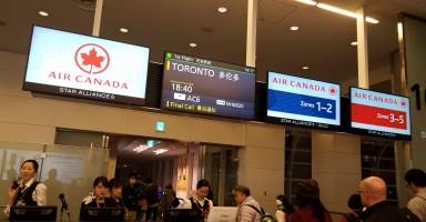羽田からトロントへの搭乗口。エアカナダ。
