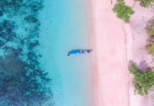 pink beaches near Bali, Indonesia