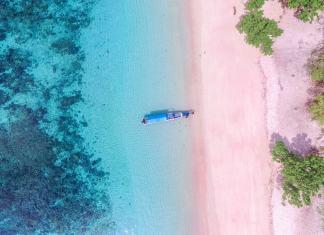 pink beaches near Bali, Indonesia
