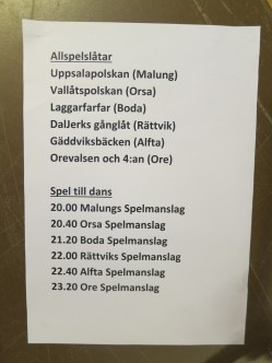 allspel tune list + evening dance lineup in the main hall