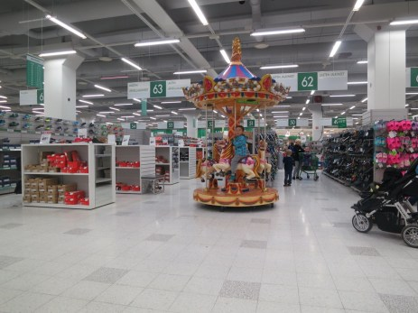 i'm in the Finnish equivalent of Target, and there's a carousel in the middle of the shoe department