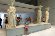 <h5>Akropolis Museum, The Karyatides</h5><p>These are the original statue-columns from the Erechtheion. One is missing; British Museum. Please return the marbles.</p>