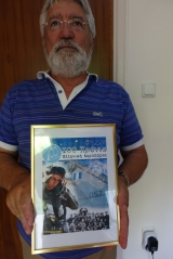 <h5>Apostolos, a proud father.</h5><p>His son, a fighter pilot, was featured in a poster distributed country-wide to celebrate the 100th anniversary of the Greek air-force.</p>