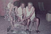 <h5>Cooking the catch of the day. Mom, dad and uncle Loukis</h5>
