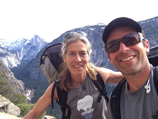 Lynn Hill and Photographer Corey Rich pose for a selfie at the top of El Capitan
