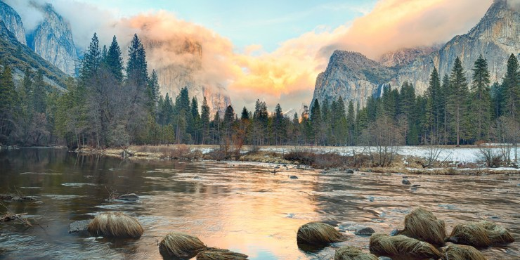 A 2:1 panorama crop of a colorful sunset as viewed from Valley View (a.k.a. The Gates of the Valley) in Yosemite National Park