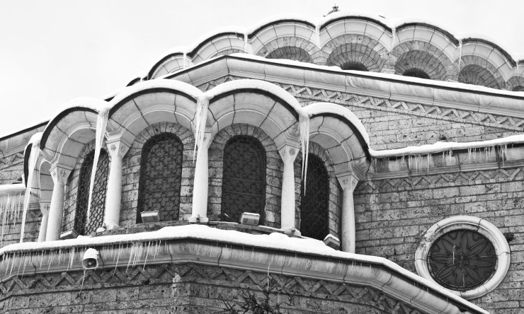 sofia winter black white bulgaria church