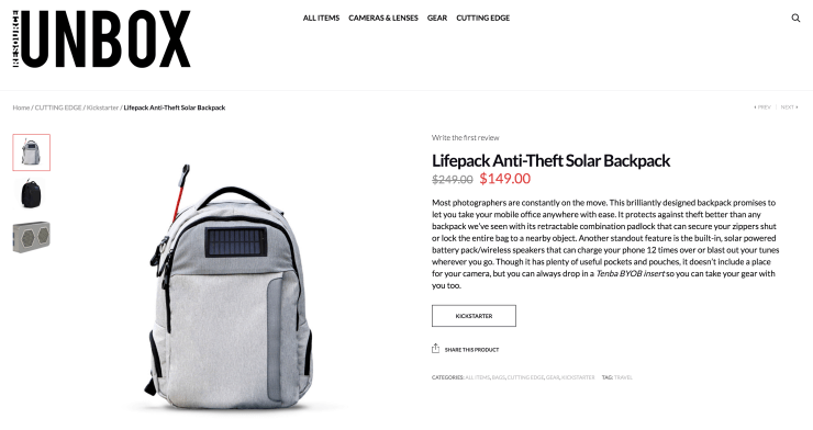 Lifepack Anti-Theft Solar Backpack Resource Unbox