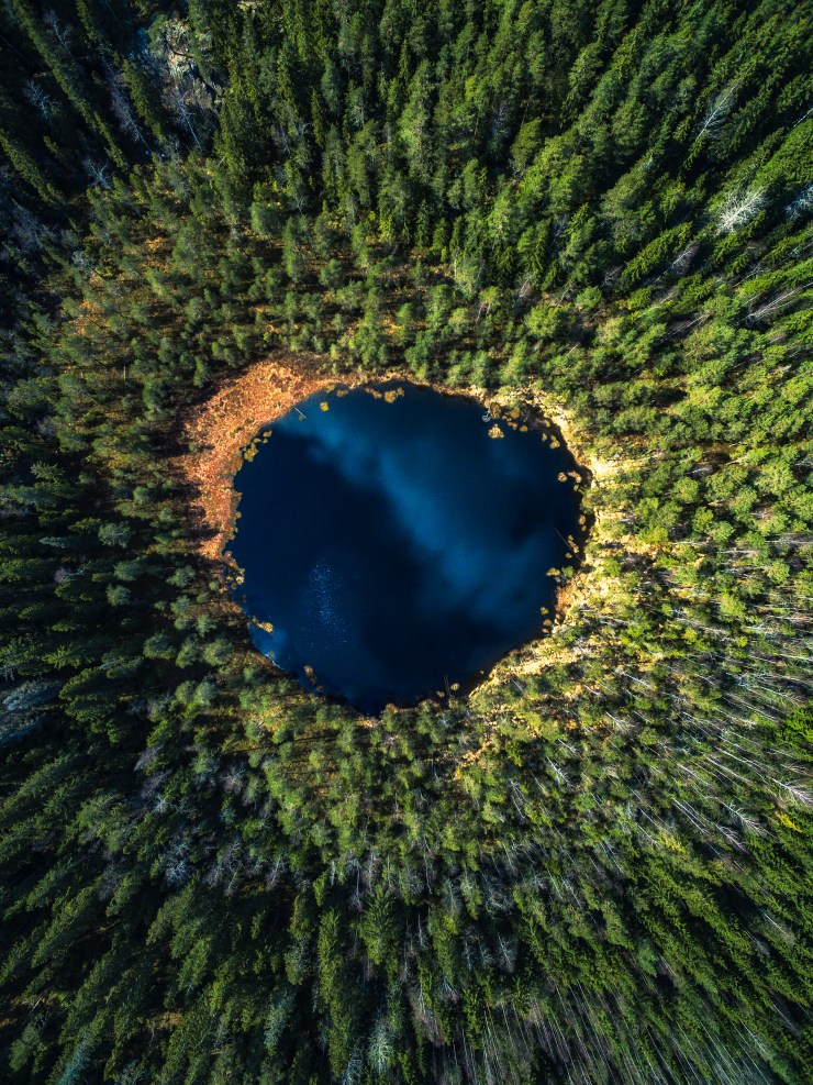 Finland Drone over circle lake by Michael Matti