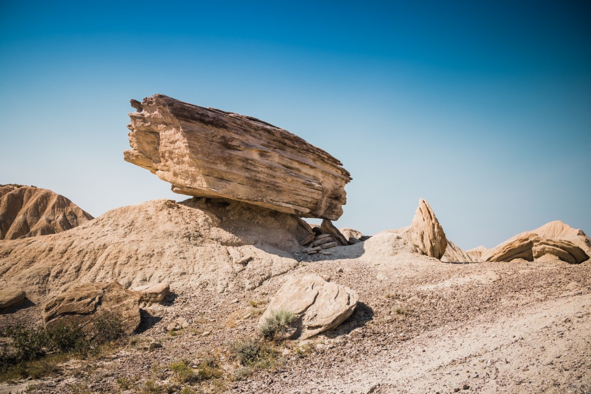 Stacked rocks like this one at Toadstool Geologic Park are pretty stable if left alone.