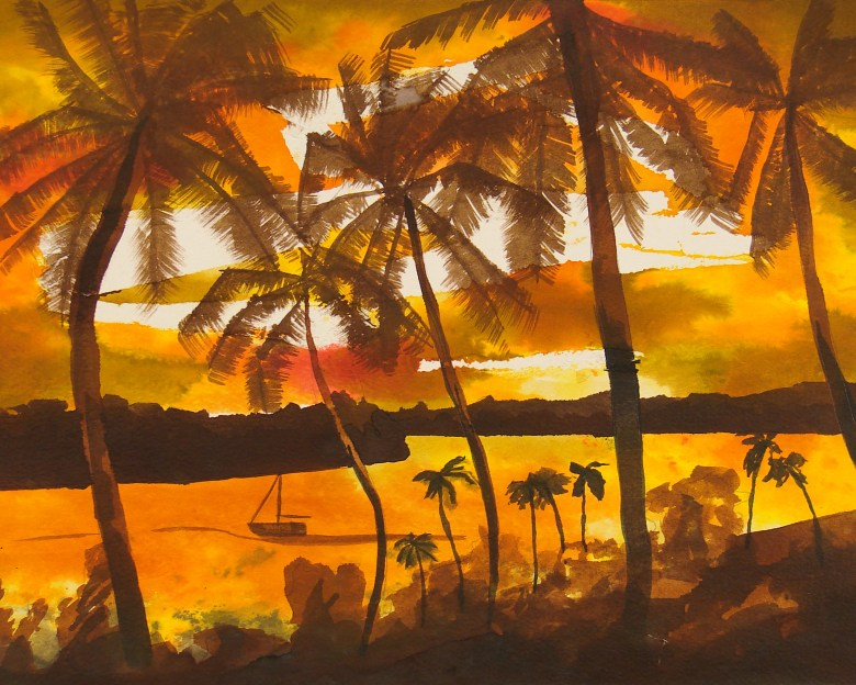 Pop's Tropics - an early experimental painting influenced by images of Hawaii