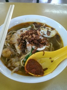 Prawn soup, fried onion with special sambal