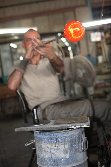 A glass-blower, Hebron. What to see and do in the West Bank, Palestine.