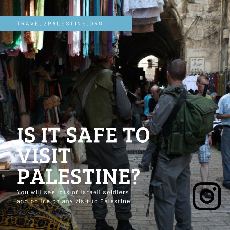 A visual of two Israeli police in the old City of East Jerusalem. You will see lots of Israeli soldiers and police on any visit to Palestine.