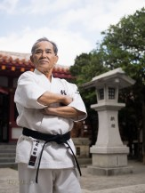 Yoshimasa Matsuda Hanshi 9th-dan Okinawa Shorin-ryu Myobukan at Naminoue Shrine, Naha City, Okinawa.