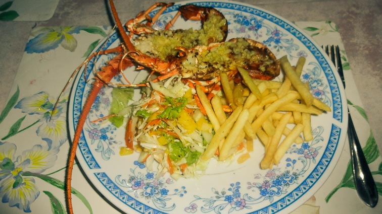 Lobster with fries for Christmas in Negombo, Sri Lanka
