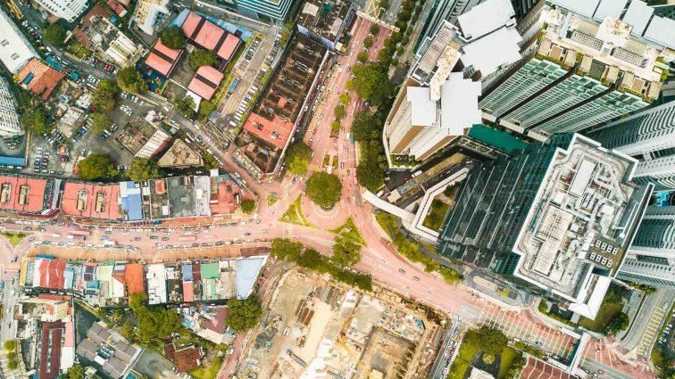 Brickfields, Little India from above. Kuala Lumpur