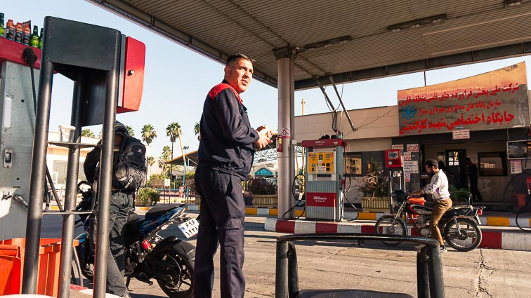 At the gas station in Iran. How expensive is Iran to Travel? Cost of travel in Iran.