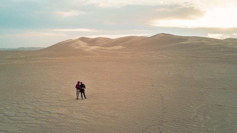 Route Iran. Desert near Varzaneh