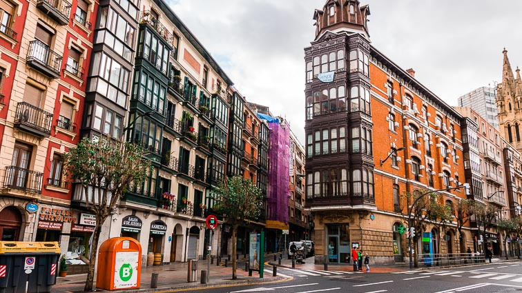 Outside the old town in Bilbao