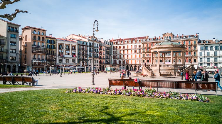 Plaza del Castillo, Pamplona. Pamplona is one of the best places to visit for a city break in Spain