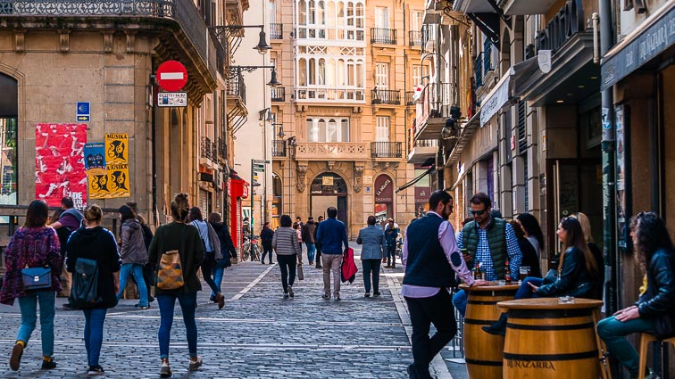 Locals roaming the streets of Pamplona