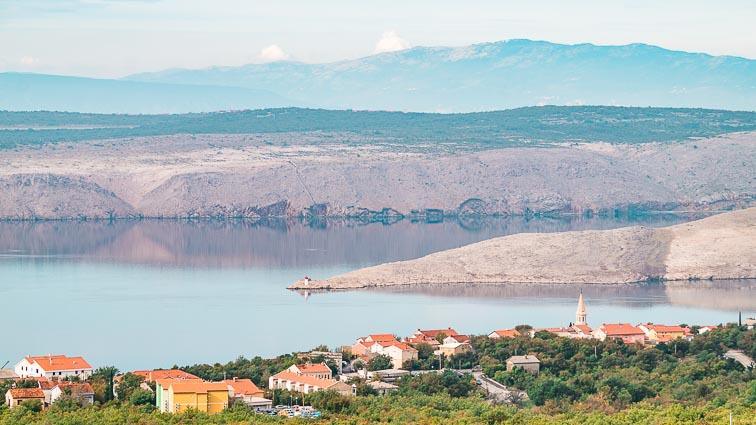 Krk Island's barren east coast seen from Croatia's mainland