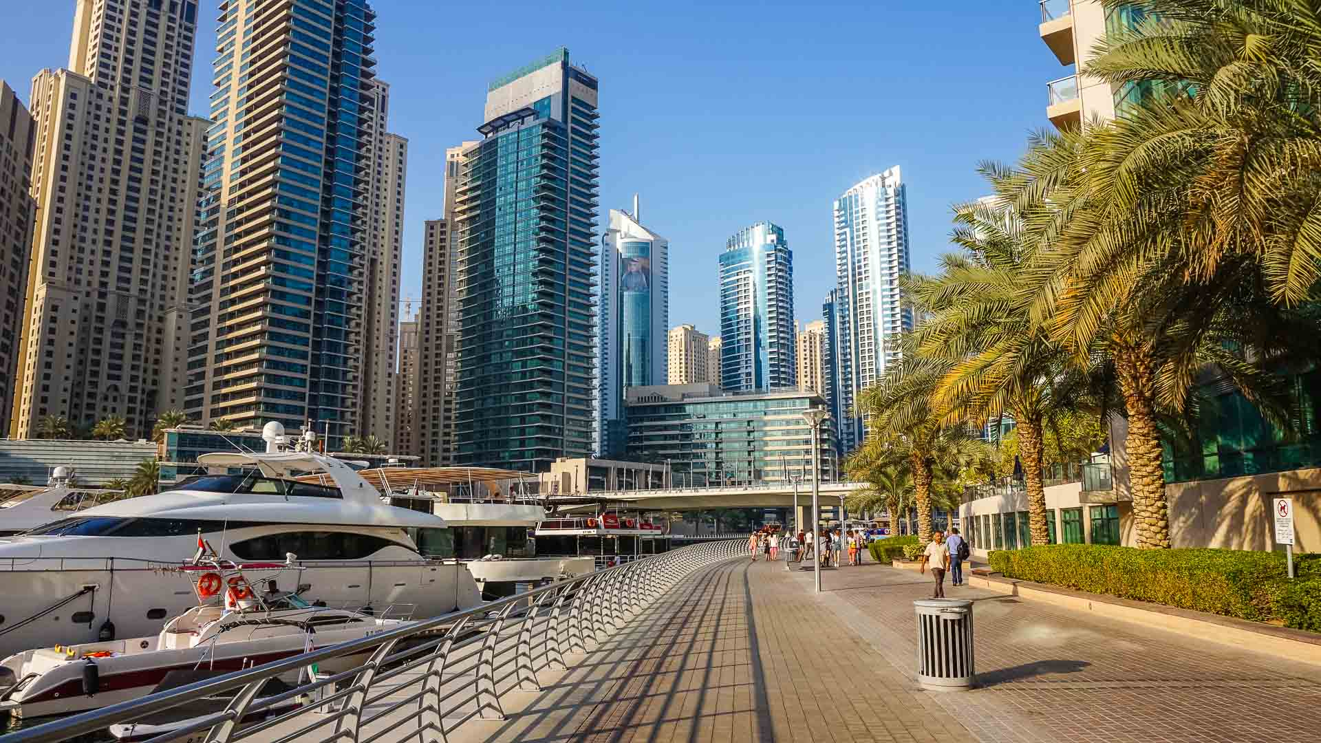 Part of Marina Walk. The 1.7km long walking route along the Marina Harbour