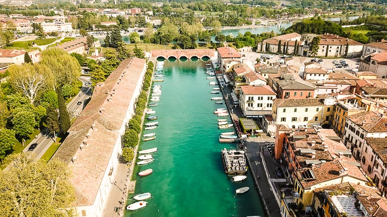 Pecheira's canal from the sky. Things to do around Lake Garda