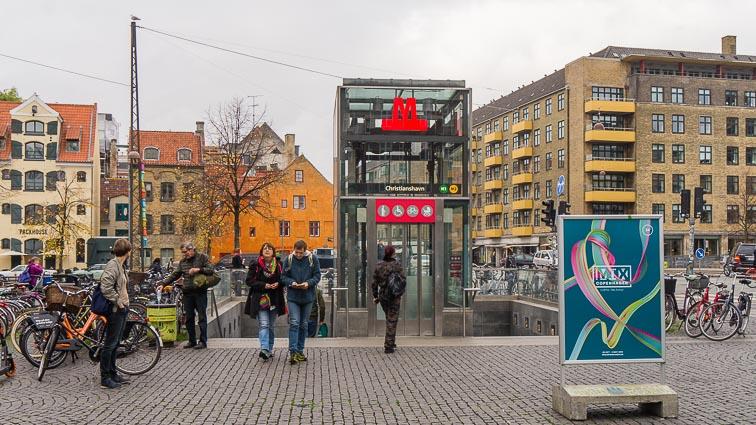Metro station entrance in Copehagen