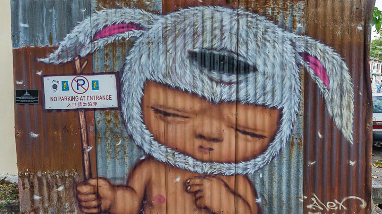 Boy with hat street art Penang