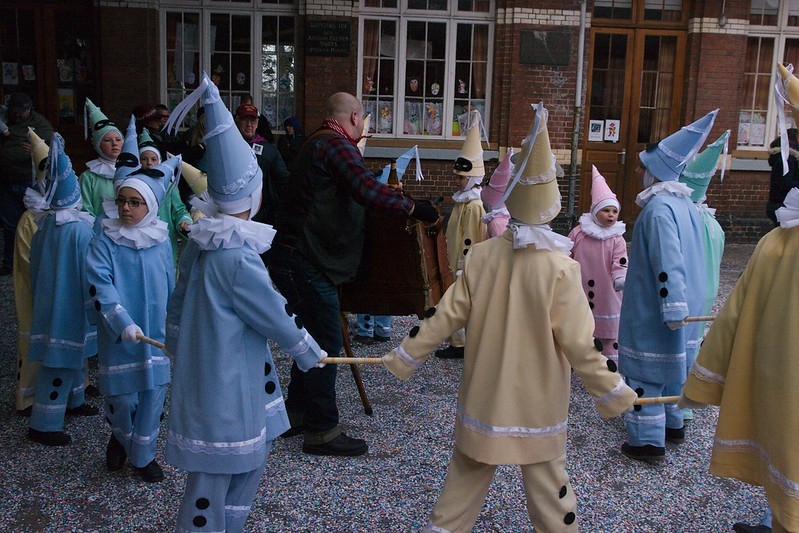 Group of boys dressed as Pierrots in Binche