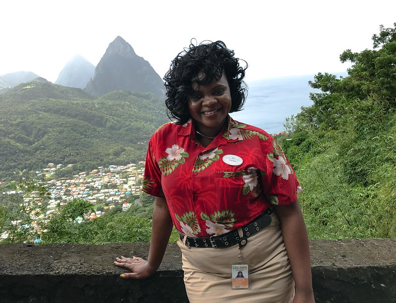 A female tour guide in St. Lucia