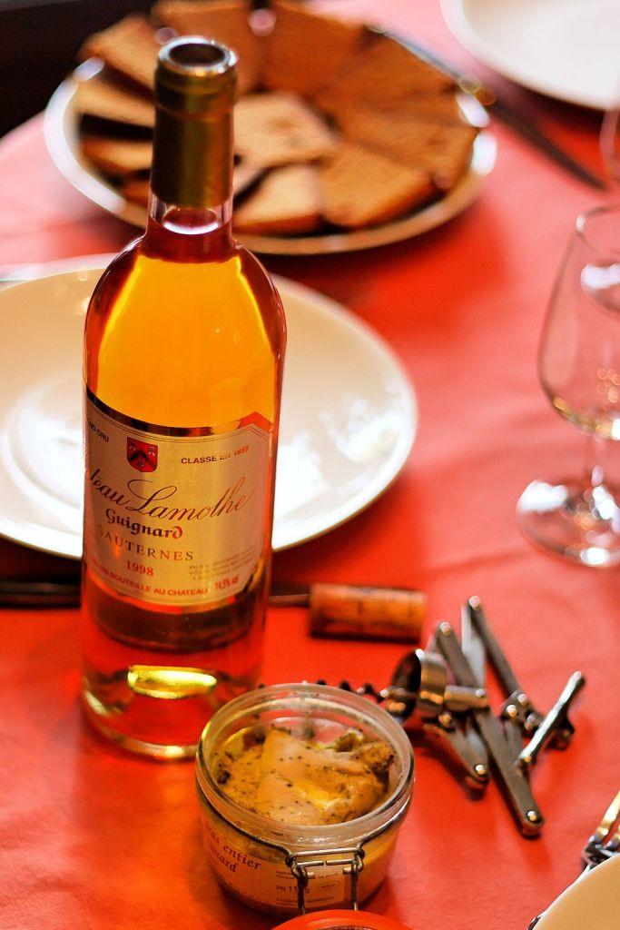 bottle of Sauternes wine with foie gras