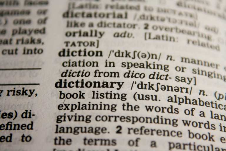 page from a dictionary showing the word dictionary