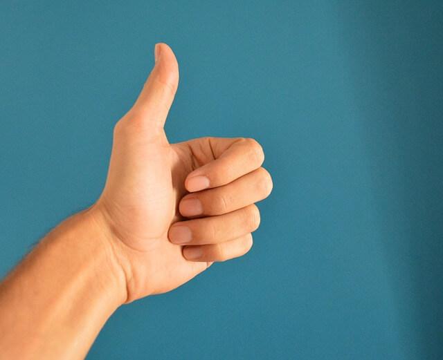 thumbs up, success
